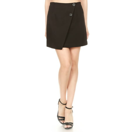 Womens Junior Short Asymmetrical Tulip Hem Faux Wrap Black Pencil Mini Skirt