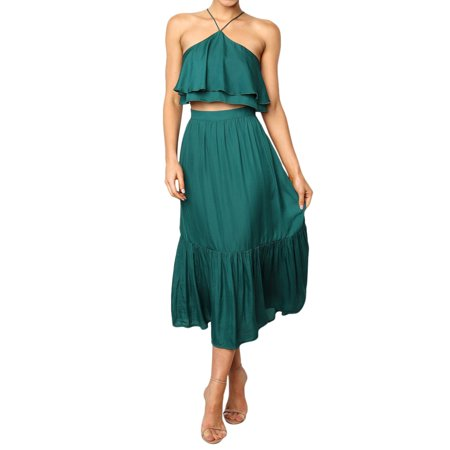 Women Boho Midi Dress Shirred Spaghetti Strap Top Set Summer Beach Sundress Suit (Sundress Set)