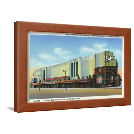 Houston, Texas - Exterior View of Sears Roebuck and Co Department Store Framed Print Wall Art By Lantern (Department Stores Houston Texas)