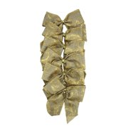 """Pack of 6 Country Rustic Burlap Bow with Gold Scrolls Christmas Decorations 4.5"""" x 5"""""""