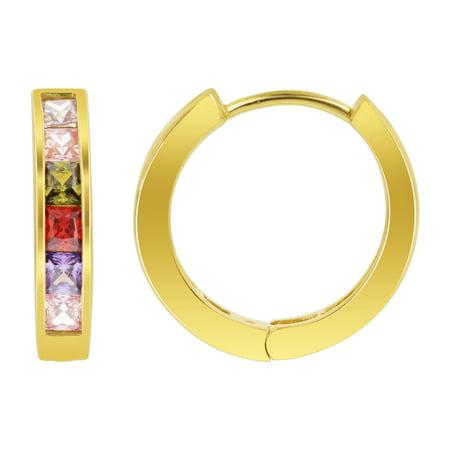 Multi Stone Gem (Gem Avenue 18k Gold Layered Multi Princess Cut Cubic Zirconia Hoop Earrings (19mm Diameter))