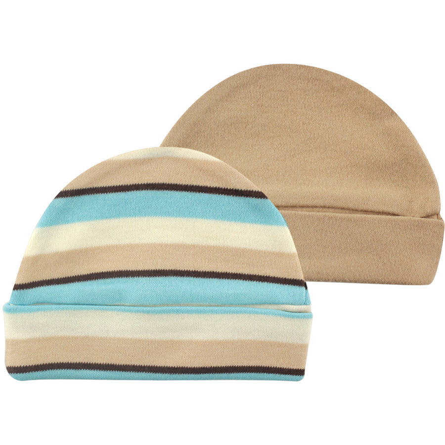 Touched By Nature 100% Organic Cotton Newborn Baby Clothes Boy Or Girl Unisex Cap 2-Pack