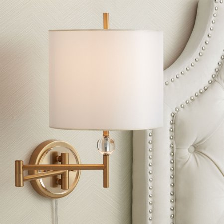 Possini Euro Design Kohle Brass and Acrylic Ball Swing Arm Plug-In Wall (Brass Acrylic Wall)