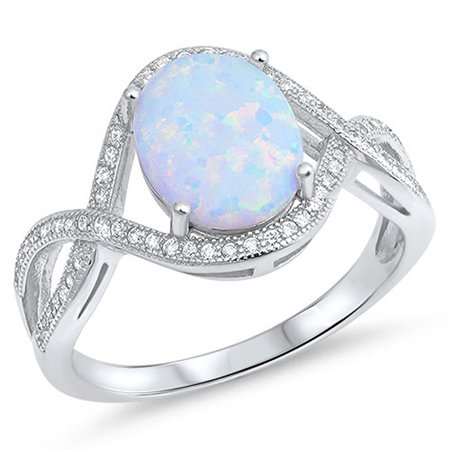 CHOOSE YOUR COLOR Oval White Simulated Opal Infinity Ring New .925 Sterling Silver Knot Band