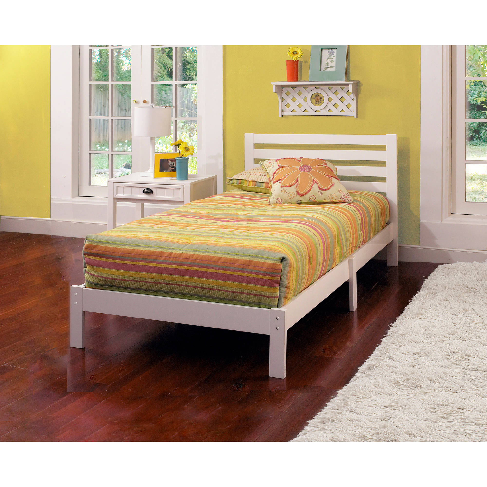 White Twin Bed Frames aiden twin bed, white - walmart