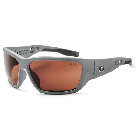 Skullerz Baldr Polarzied Safety Sunglasses- Matte Gray Frame, Copper Lens, Solid gray frame with polarized copper safety lens for outdoor use around water,.., By