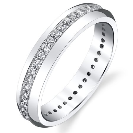 Eternity Wedding Ring - 4mm Sterling Silver 925 Women's Eternity Ring Engagement Wedding Band With Round Cut Cubic Zirconia
