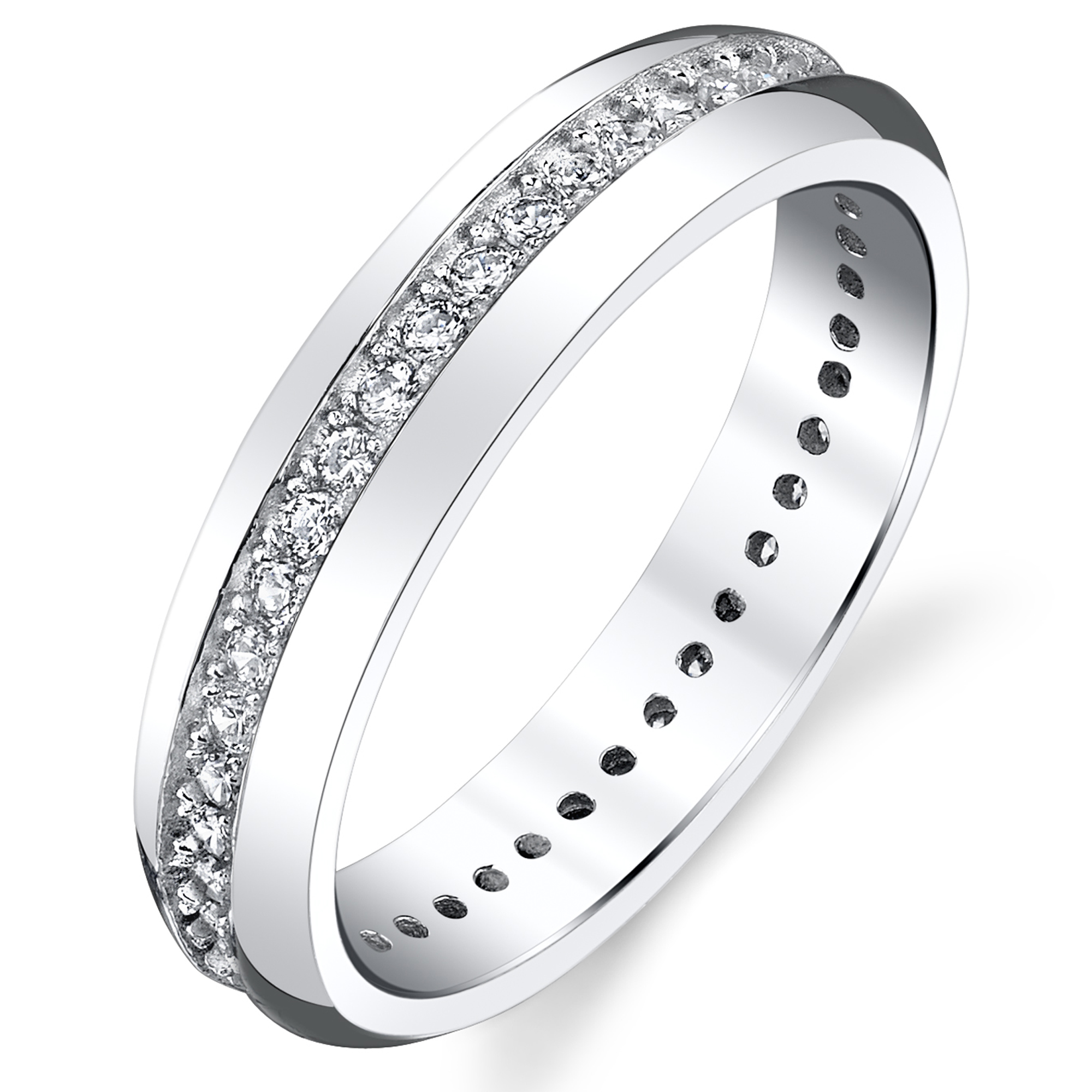 4mm Sterling Silver 925 Women's Eternity Ring Engagement Wedding Band With Round Cut Cubic Zirconia