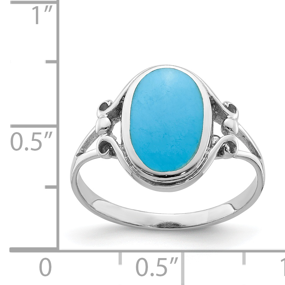 925 Sterling Silver Synthetic Blue Turquoise Band Ring Size 7.00 Fine Jewelry Gifts For Women For Her - image 2 of 3