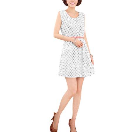 NEWS Women Round Neck Sleeveless Dots Belted Casual Dress