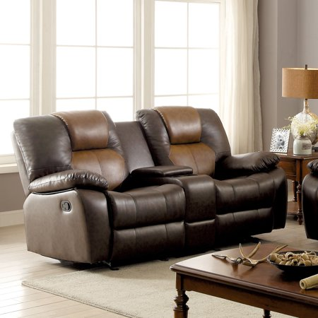 Marvelous Furniture Of America Carmez Two Tone Brown Leatherette Reclining Loveseat Inzonedesignstudio Interior Chair Design Inzonedesignstudiocom