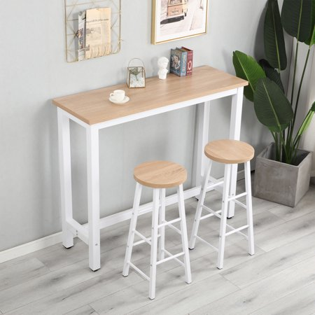 Harper & Bright Designs 3-Piece Dining Set Wood and Metal Pub Table with 2 Bar Stools ()