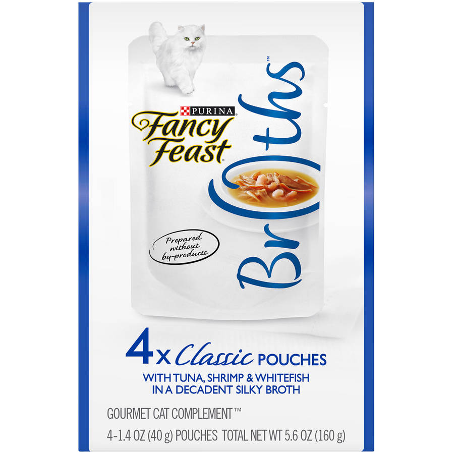 Purina Fancy Feast Broths Classic with Tuna, Shrimp & Whitefish Cat Food 4-1.4 oz. Pouches