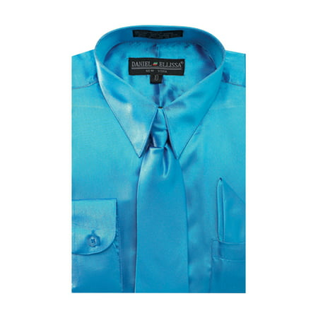 Big Kids Turquoise Apparel (Boy's Satin Dress Shirt with Matching Tie and Hanky Set)