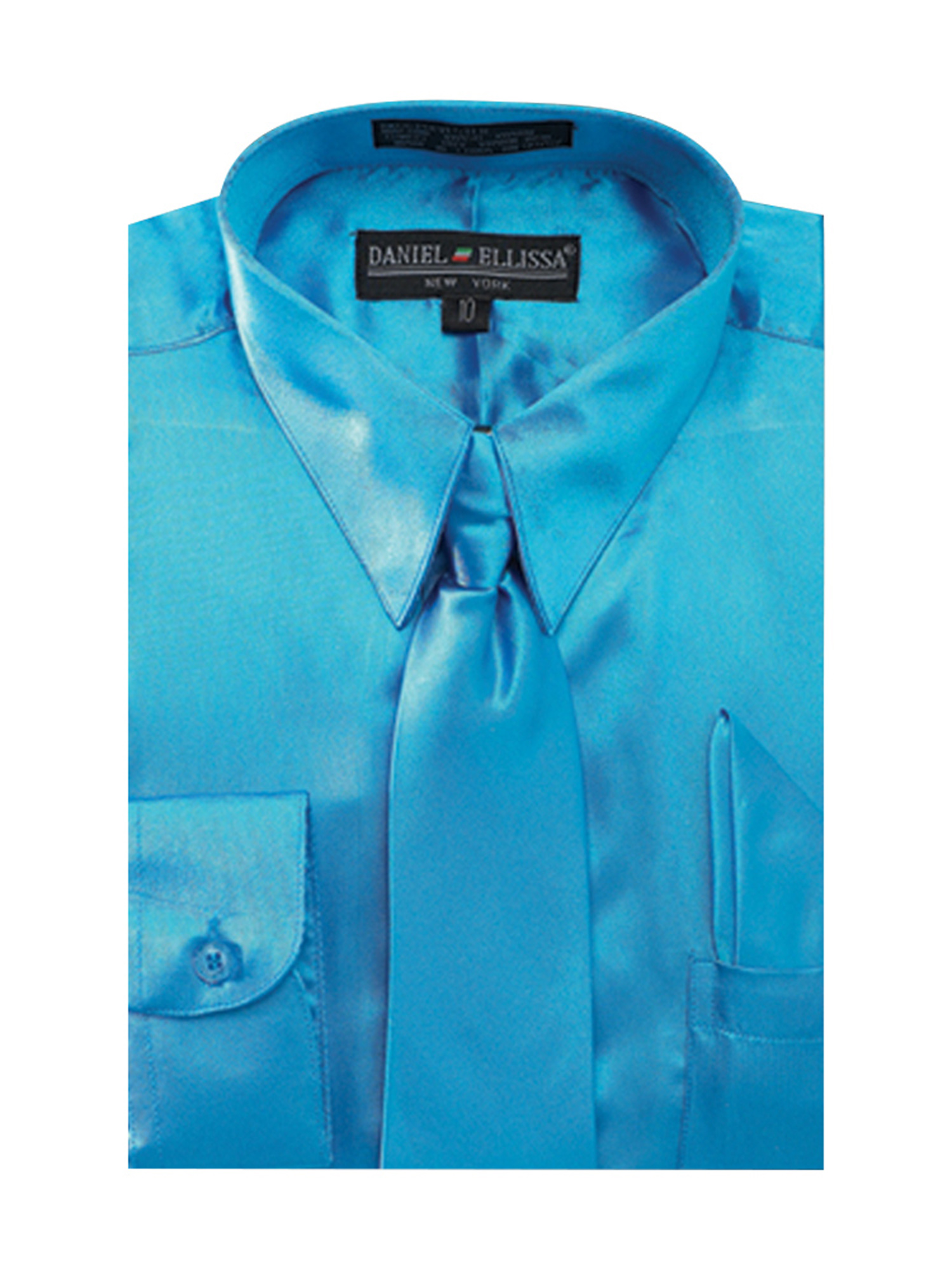 Boy's Satin Dress Shirt with Matching Tie and Hanky Set