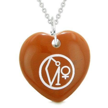 Red Jasper Heart Necklace - Archangel Uriel Sigil Magic Planet Energy Puffy Heart Amulet Red Jasper Pendant 18 inch Necklace