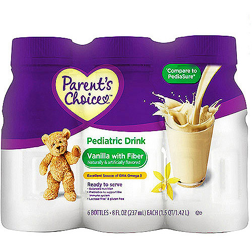 Parent's Choice - Nutritional Pediatric Drink, Vanilla with Fiber, 6 count