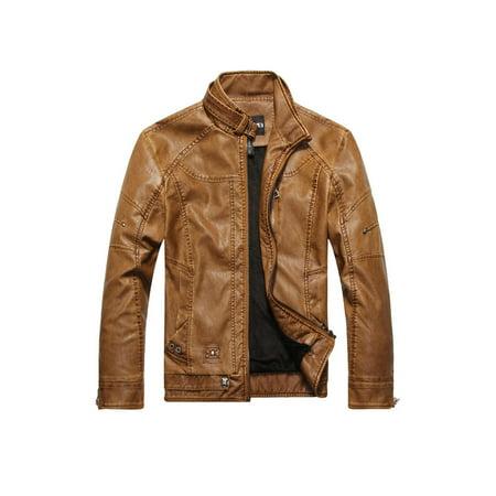 Men Stylish Long Sleeve Leather Jacket (Best Stylish Leather Jackets)