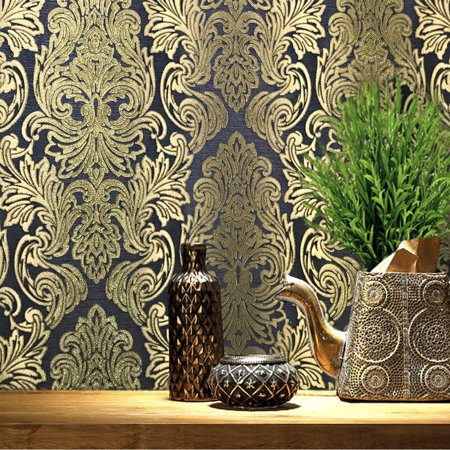 Unique wallcovering Rolls Victorian pattern Vinyl Non-Woven Wallpaper black charcoal gray gold metallic 3D textured stripes vintage damask striped coverings 3D paste the wall only ()