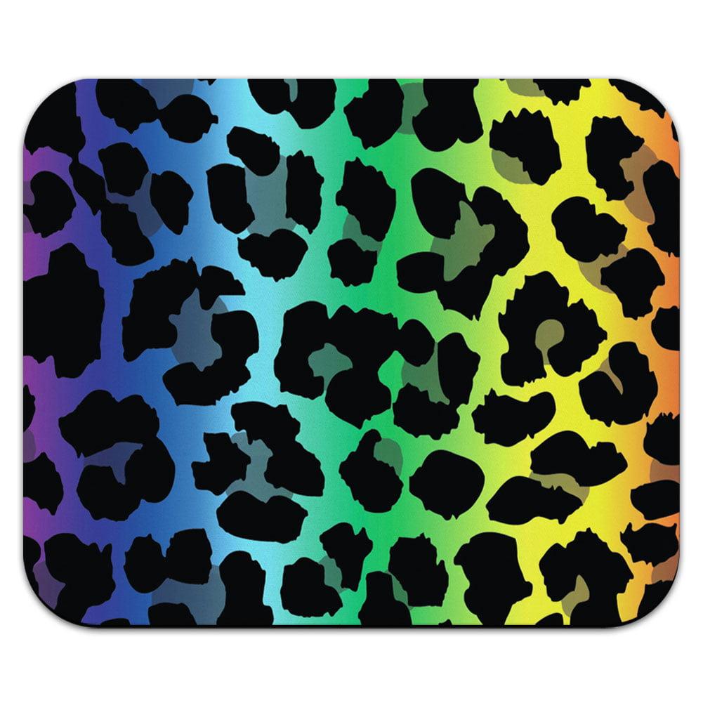 Leopard Spots Animal Print Rainbow Mouse Pad