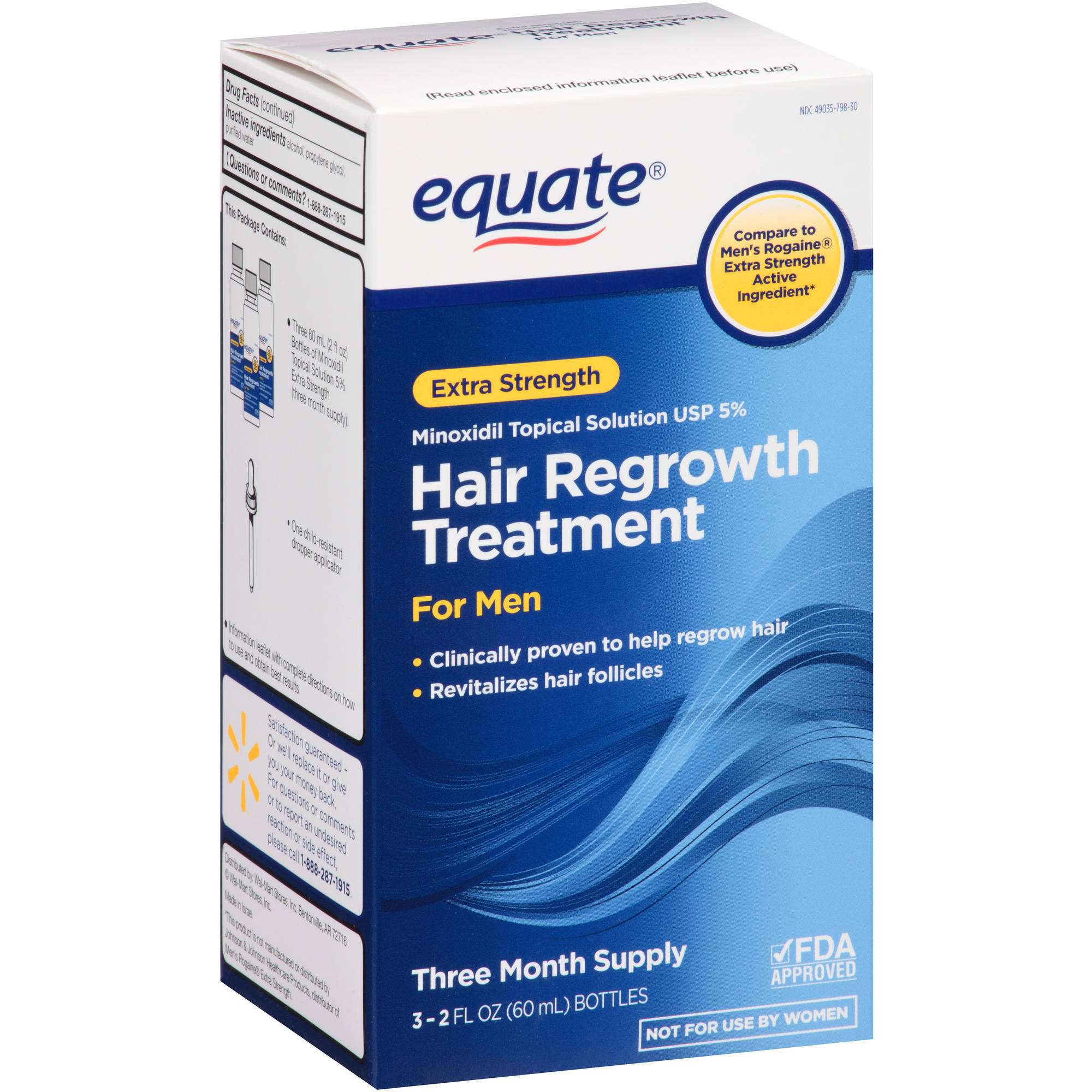 Equate Extra Strength Hair Regrowth Topical Solution for Men, 3ct
