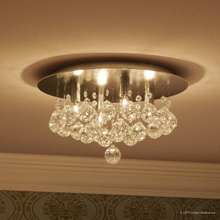 Urban Ambiance Luxury Crystal Flush Mount Ceiling Light, Small Size: 7.75