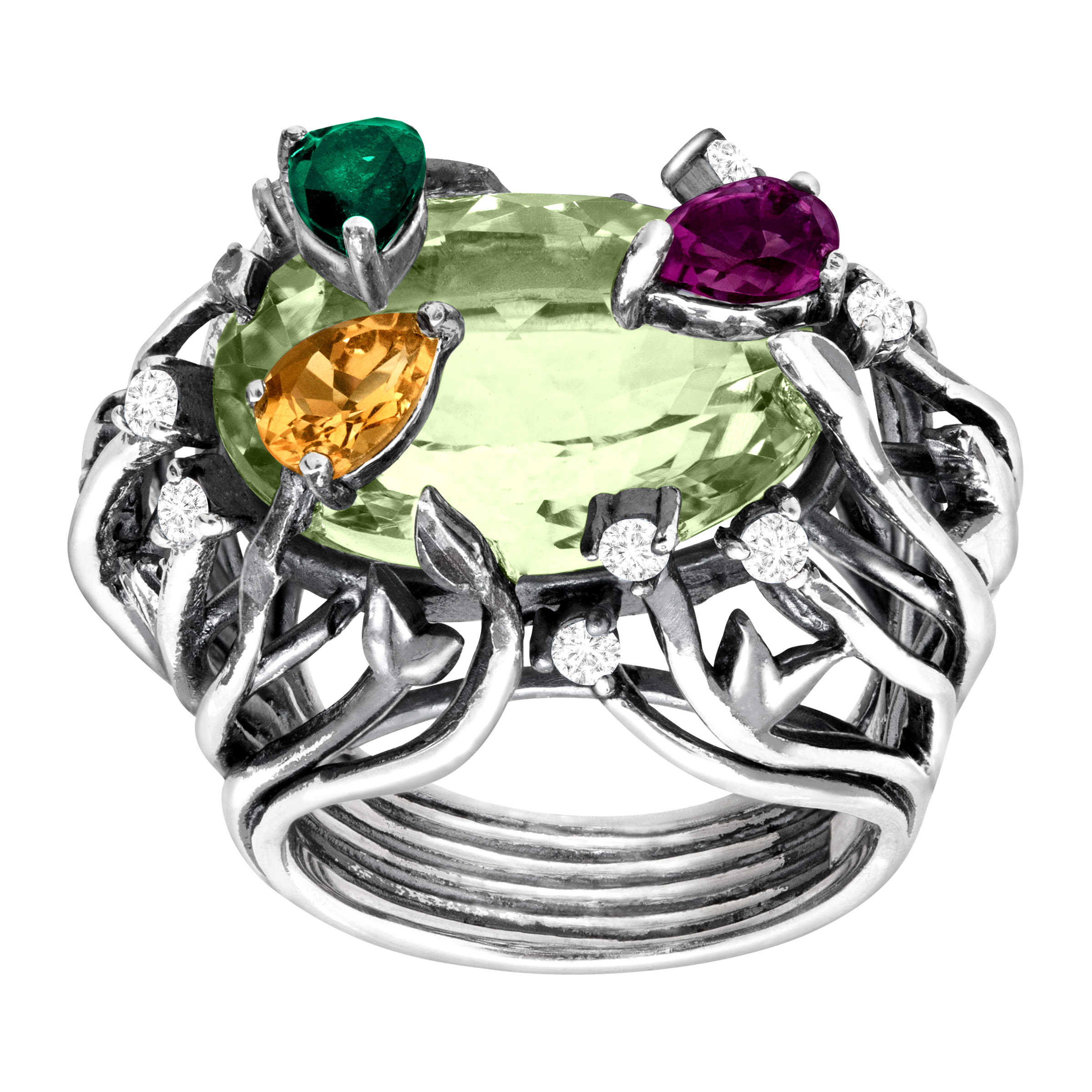 Cristina Sabatini Natural Amethyst, Citrine & Diopside Iris Blossom Ring in Sterling Silver by Richline Group