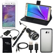 Galaxy Note 5 Case, DigitalsOnDemand ® 9-Item Accessory Kit for Samsung Note 5 - Wallet Leather Case, TPU Cover, Screen Protector, Touch Stylus, USB Cable, Dual Car Charger, 2.0 OTG, AUX, Travel Bag