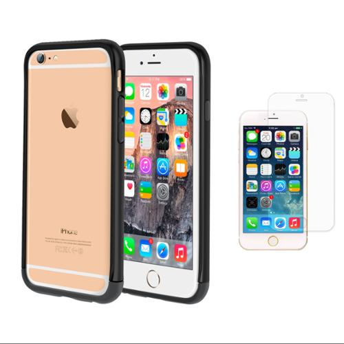 iPhone 6 Case Bundle (Case + HD Screen Protector), roocase iPhone 6 4.7 Strio Bumper Open Back with Corner Edge Protection Case Cover with HD Screen Protector for Apple iPhone 6 4.7-inch, Black
