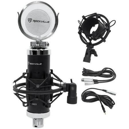 (Rockville RCM03 Pro Studio Recording Condenser Microphone Mic and Metal Shock Mount)