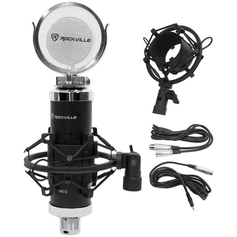 Rockville RCM03 Pro Studio Recording Condenser Microphone Mic and Metal Shock Mount