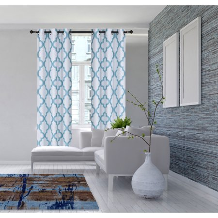 2-Piece 7LO Teal Geometric Blackout Lined Grommet Window Curtain Set, Two (2) Printed Thermal Panels 37