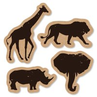 Wild Safari - Shaped African Jungle Adventure Birthday Party or Baby Shower Cut-Outs - 24 Count