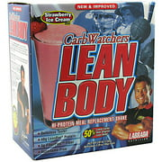 CarbWatchers Lean Body Strawberry Ice Cream Hi-Protein Meal Replacement Shake Powder, 20 count, 2.87 lb