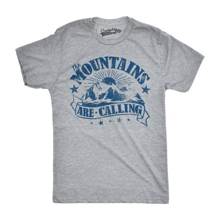 Mens The Mountains Are Calling Cool Sunset Vintage Rockies Funny Hiking Nature T shirt