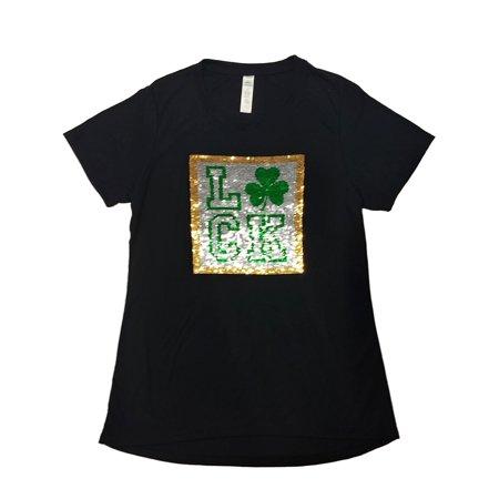 Lucky Shamrock Clover (Womens St Patricks Day T-Shirt Lucky Love Shamrock Clover Reversible Sequin Tee )