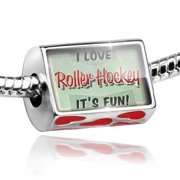 Bead I Love Roller Hockey, Vintage design Charm Fits All European Bracelets by NEONBLOND