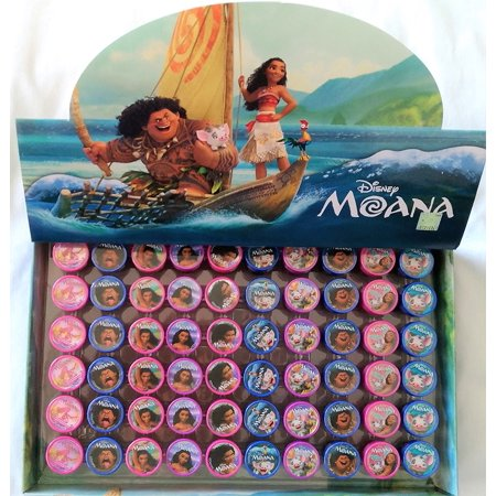 60 pcs Disney Moana Self-inking Stamps Stampers Pencil Topper Authentic Disney Licensed, Moana Self-Inking Stamper Pencil Topper By (Pencil Sampler)