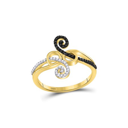 10kt Yellow Gold Womens Round Black Color Enhanced Diamond Curl Fashion Ring 1/5 Cttw ()