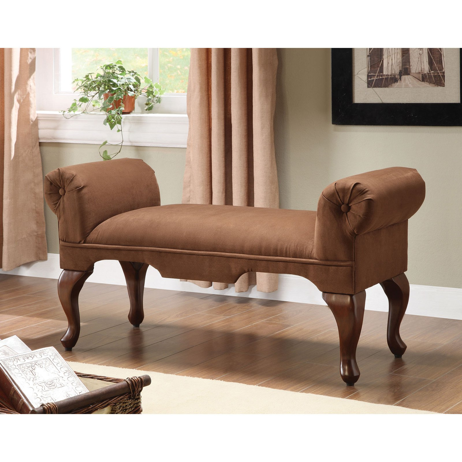 ACME Alfie Bench with Rolled Arm, Chocolate Microfiber by Acme Furniture