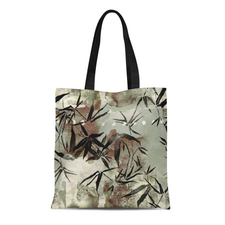 SIDONKU Canvas Tote Bag Imprints Branch of Young Bamboo Abstract Watercolour and Digital Reusable Shoulder Grocery Shopping Bags Handbag