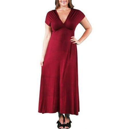 24/7 Comfort Apparel - Women\'s Plus Faux Wrap Maxi Dress - Walmart.com