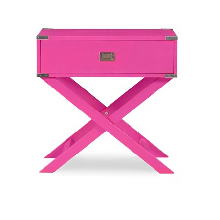 Linon Peggy X Base Wood Accent Table in Pink - image 10 de 11