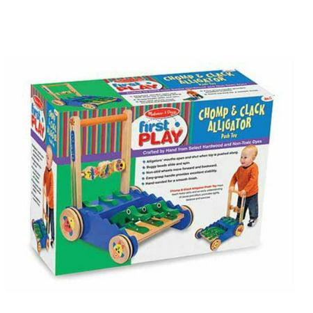 Melissa & Doug Deluxe Chomp and Clack Alligator Wooden Push Toy and Activity (Melissa & Doug Deluxe Multi Vehicle Activity Rug)