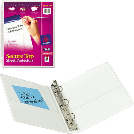 Avery Secure Top Sheet Protectors, Heavy Gauge, Letter, Diamond Clear, 25/Pack and Avery Mini 1