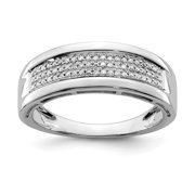 925 Sterling Silver Diamond Ladies Wedding Ring Band Size 6.00