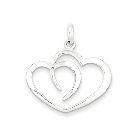 925 Sterling Silver Heart Charm Pendant - 29MM