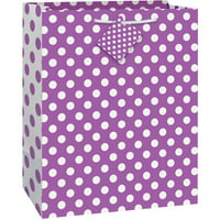 "Purple Polka Dot Gift Bag, 12.75"" x 10.5"""