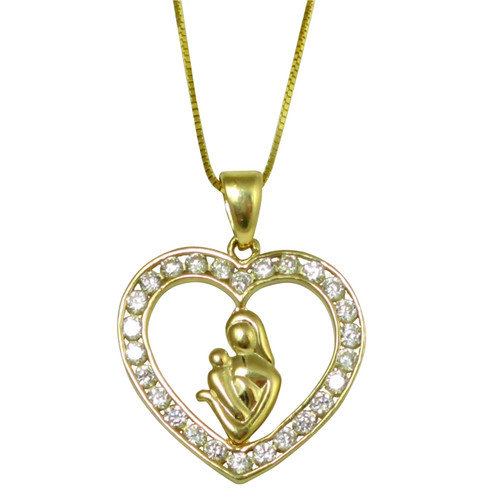 Trendbox Jewelry Channel-set Cubic Zirconia Heart with Mother and Child Pendant