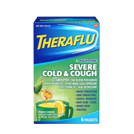 Cough Relief Syrup - Theraflu Nighttime Severe Cold & Cough Honey Lemon Infused with Chamomile & White Tea Hot Liquid Powder for Cough & Cold Relief, 6 count